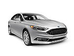 Silver 2017 Ford Fusion mid-size sedan car isolated on white background with clipping path Image © MaximImages, License at https://www.maximimages.com