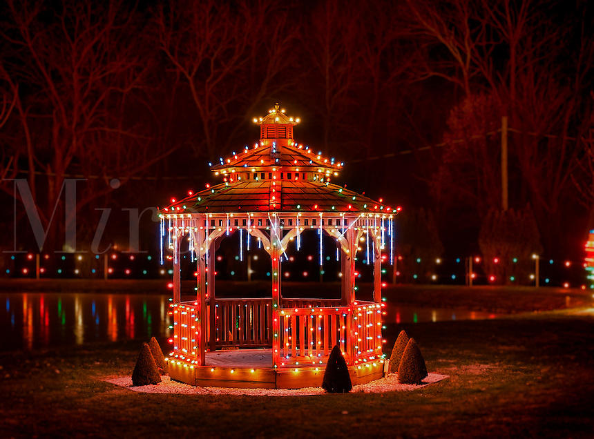 Gazebo decorated with Christmas lights, Koziar's Christmas Village, Bernville, PA, Pennsylvania, USA