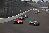 28th May 2021; Indianapolis, Indiana, USA;  NTT Indy Car Series car driver Jack Harvey (60) leads a pack of cars down the front straightaway during Miller Lite Carb Day as teams prepare for the 105th running of the Indianapolis 500