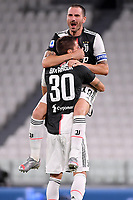 Leonardo Bonucci and Rodrigo Bentancur of Juventus celebrate at the end of the Serie A football match between Juventus FC and UC Sampdoria at Juventus stadium in Turin (Italy), July 26th, 2020. Juventus has won its ninth consecutive championship.<br /> Photo Federico Tardito / Insidefoto