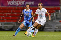 Chicago, IL - Saturday July 30, 2016: Samantha Johnson, Frances Silva during a regular season National Women's Soccer League (NWSL) match between the Chicago Red Stars and FC Kansas City at Toyota Park.