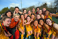 The Wellington Girls' College team celebrates victory. 2020 Lower North Island Secondary Schools Hockey Girls Premiership tournament final between Wellington Girls' College and Wairarapa College at Fitzherbert Park Twin Turfs in Palmerston North, New Zealand on Friday, 4 September 2020. Photo: Dave Lintott / lintottphoto.co.nz