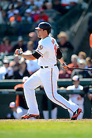 Baltimore Orioles first baseman Chris Davis #19 during a Spring Training game against the Toronto Blue Jays at Ed Smith Stadium on March 7, 2013 in Sarasota, Florida.  Balitmore defeated Toronto 11-10.  (Mike Janes/Four Seam Images)