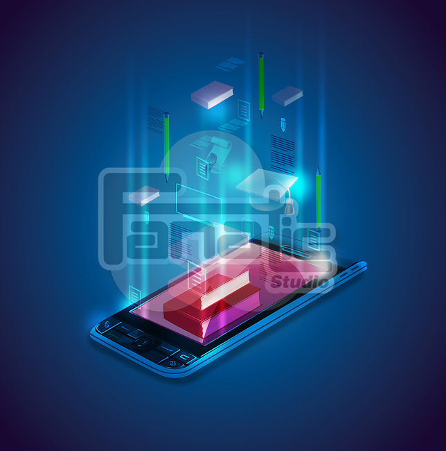 Illustrative image of mobile phone depicting the concept of E-learning