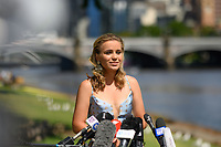 January 2, 2020: SOFIA KENIN (USA) speaks to the media as the Women's Singles champion of the Australian Open 2020 in Melbourne, Australia. Photo Sydney Low