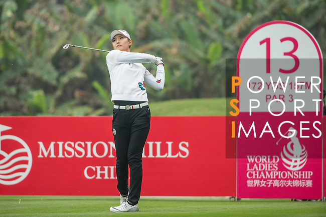 Min Sun Kim of South Korea tees off at the 13th hole during Round 3 of the World Ladies Championship 2016 on 12 March 2016 at Mission Hills Olazabal Golf Course in Dongguan, China. Photo by Victor Fraile / Power Sport Images