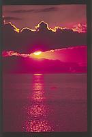 Sunset over the Strait of Juan de Fuca from Dungeness Spit, Dungeness National Wildlife Refuge, Olympic Peninsula, Washington, US