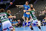 Rudolf Faluvegi (TVB Stuttgart #8) ; Jacob Bagersted (FRISCH AUF! Goeppingen #14) ; BGV Handball Cup 2020 Finaltag: TVB Stuttgart vs. FRISCH AUF Goeppingen am 13.09.2020 in Stuttgart (PORSCHE Arena), Baden-Wuerttemberg, Deutschland<br /> <br /> Foto © PIX-Sportfotos *** Foto ist honorarpflichtig! *** Auf Anfrage in hoeherer Qualitaet/Aufloesung. Belegexemplar erbeten. Veroeffentlichung ausschliesslich fuer journalistisch-publizistische Zwecke. For editorial use only.