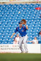 South Bend Cubs first baseman Jared Young (16) stretches to receive a throw during the first game of a doubleheader against the Lake County Captains on May 16, 2018 at Classic Park in Eastlake, Ohio.  South Bend defeated Lake County 6-4 in twelve innings.  (Mike Janes/Four Seam Images)