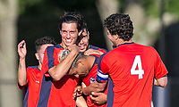 Malden, Massachusetts - July 8, 2018:  In a National Premier Soccer League (NPSL) match, Boston City FC (red/blue) defeated Greater Lowell NPSL FC (white), 3-2, at Brother Gilbert Stadium on Donovan Field.<br /> Goal celebration.
