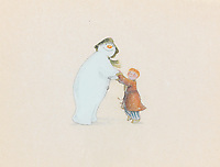 BNPS.co.uk (01202 558833)<br /> Pic: Bonhams/BNPS<br /> <br /> PICTURED: The Snowman: an original animation cel of the Snowman dancing with James.<br /> <br /> Original animation cells from the Christmas film 'The Snowman' have sold at auction for £14,000.<br />  <br /> The 16 drawings were sketched on celluloid plastic and then filmed in sequence to give the impression they were moving.<br /> <br /> They were sold individually, with the most valuable being a picture of James and the Snowman embraced in a hug.