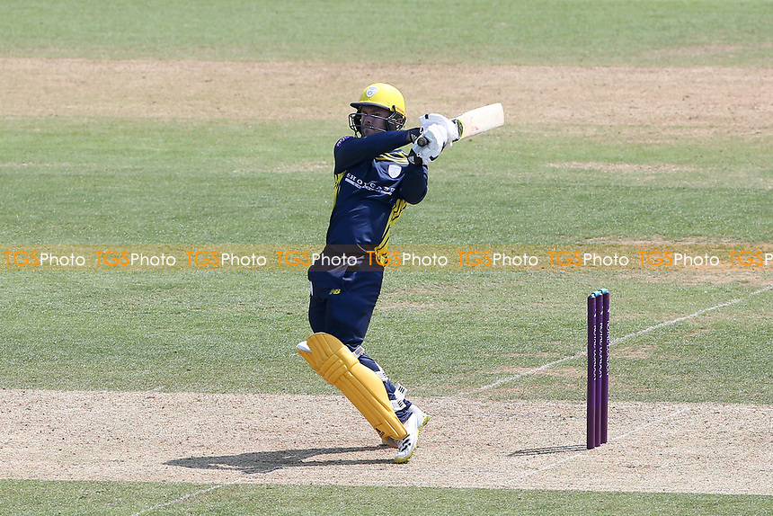 Lewis McManus hits 6 runs for Hampshire during Hampshire Hawks vs Essex Eagles, Royal London One-Day Cup Cricket at The Ageas Bowl on 22nd July 2021