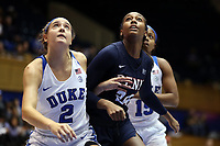 DURHAM, NC - NOVEMBER 29: Haley Gorecki #2 of Duke University and Tori Crawford #24 of the University of Pennsylvania position for a rebound during a game between Penn and Duke at Cameron Indoor Stadium on November 29, 2019 in Durham, North Carolina.