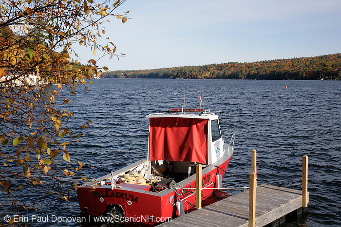 Lake Sunapee during in Newbury, New Hampshire the autumn months USA. This is the south end of Lake Sunapee.