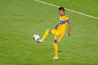 22nd December 2020, Orlando, Florida, USA;  Tigres Hugo Ayala stops the ball during the Concacaf Championship between LAFC and Tigres UANL on December 22, 2020, at Exploria Stadium in Orlando, FL.
