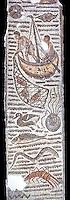 Late 4th century AD Roman mosaic depiction a fishing scene. From Cathage, Tunisia.  The Bardo Museum, Tunis, Tunisia. Black background