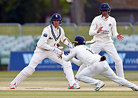 Steven Croft of Lancashire takes a catch to dismiss Fred Klaassen off the bowling of Matt Parkinson during Kent CCC vs Lancashire CCC, LV Insurance County Championship Group 3 Cricket at The Spitfire Ground on 25th April 2021