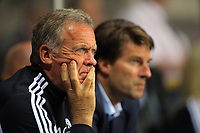 Pictured L-R: Alan Curtis with Swansea manager Michael Laudrup. Tuesday 28 August 2012<br /> Re: Capital One Cup game, Swansea City FC v Barnsley at the Liberty Stadium, south Wales.