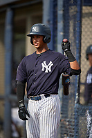 New York Yankees Everson Pereira (21) on deck during a Florida Instructional League game against the Philadelphia Phillies on October 11, 2018 at Yankee Complex in Tampa, Florida.  (Mike Janes/Four Seam Images)