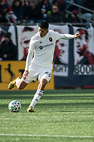 FOXBOROUGH, MA - MARCH 7: Mauricio Pineda #22 of Chicago Fire during a game between Chicago Fire and New England Revolution at Gillette Stadium on March 7, 2020 in Foxborough, Massachusetts.