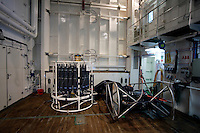 MOCNESS Multiple opening and closing environmental sampling system (Used to collect plankton samples ) and CTD water sampler in research ship hangar