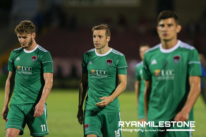 Karl Sheppard, Graham Cummins and Kieran Sadlier dejected at the end of the UEFA Europa League Third Qualifying Round First Leg game between Cork City and Rosenborg, on Thursday 9th August 2018, at Turners Cross, Cork. Photo By: Michael P Ryan.
