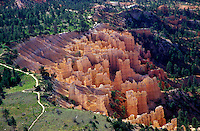 an aerial view of the colorful spires and hoodoos of Bryce Canyon National Park