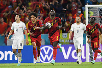 2nd July 2021; Allianz Arena, Munich, Germany; European Football Championships, Euro 2020 quarterfinals, Belgium versus Italy;  Romelu Lukaku runs back to the centre circle after scoring from the penalty spot for 1-2
