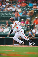Baltimore Orioles shortstop Drew Jackson (6) hits a foul ball during a Grapefruit League Spring Training game against the Tampa Bay Rays on March 1, 2019 at Ed Smith Stadium in Sarasota, Florida.  Rays defeated the Orioles 10-5.  (Mike Janes/Four Seam Images)
