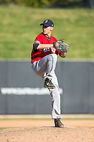 Garrett Davila (18) of South Point High School in Belmont, North Carolina playing for the Boston Red Sox scout team at the South Atlantic Border Battle at Doak Field on November 2, 2014.  (Brian Westerholt/Four Seam Images)