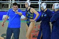 Marat Naurazbekov Kazakhstan team head coach speaks to the players during a time out <br /> Kazakhstan KAZ Vs Slovakia SVK <br /> Semifinal 5-8 <br /> Trieste (Italy) 23/01/2021 Bruno Bianchi Aquatic Center <br /> Fina Women's Water Polo Olympic Games Qualification Tournament 2021 <br /> Photo Andrea Staccioli / Deepbluemedia / Insidefoto