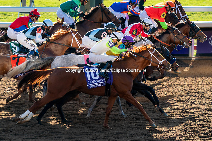 November 7, 2020 : Horses break out of the starting gate during the Longines Distaff on Breeders' Cup Championship Saturday at Keeneland Race Course in Lexington, Kentucky on November 7, 2020. Scott Serio/Eclipse Sportswire/Breeders' Cup/CSM