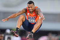 Mark Jackson of UTEP competes in first round of long jump during West Preliminary Track & Field Championships at John McDonnell Field, Thursday, May 29, 2014 in Fayetteville, Ark. (Mo Khursheed/TFV Media via AP Images)