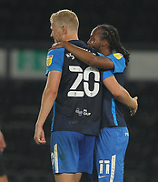 Preston North End's Declan Rudd celebrates scoring his side's second goal  with Preston North End's Jayden Stockley<br /> <br /> Photographer Mick Walker/CameraSport<br /> <br /> Carabao Cup Second Round Northern Section - Derby County v Preston North End - Tuesday 15th September 2020 - Pride Park Stadium - Derby<br />  <br /> World Copyright © 2020 CameraSport. All rights reserved. 43 Linden Ave. Countesthorpe. Leicester. England. LE8 5PG - Tel: +44 (0) 116 277 4147 - admin@camerasport.com - www.camerasport.com