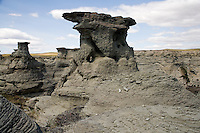 Rock formations stand above the land at Rock City outside Valier, Montana, USA.