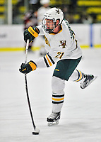 27 January 2012: University of Vermont Catamount forward Kyle Mountain, a Freshman from Bryn Mawr, PA, takes a warmup shot prior to facing the Northeastern University Huskies at Gutterson Fieldhouse in Burlington, Vermont. The Catamounts fell to the Huskies 8-3 in the first game of their 2-game Hockey East weekend series. Mandatory Credit: Ed Wolfstein Photo