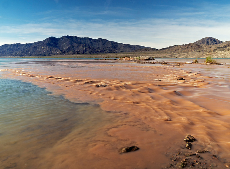 The sediment-rich Colorado River greets the translucent green waters of Lake Mead near Sandy Point in the Lake Mead National Recreation Area on the Arizona-Nevada border. (Photo from Arizona looking into Nevada)