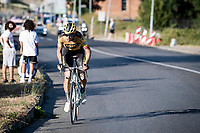 Wout Van Aert (BEL/Jumbo-Visma) solo's into Siena<br /> <br /> 14th Strade Bianche 2020<br /> Siena > Siena: 184km (ITALY)<br /> <br /> delayed 2020 (summer!) edition because of the Covid19 pandemic > 1st post-Covid19 World Tour race after all races worldwide were cancelled in march 2020 by the UCI