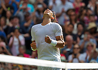 England, London, 24.06.2014. Tennis, Wimbledon, AELTC, Rafael Nadal (ESP) in jubilation after defeating Klizan in the first round<br /> Photo: Tennisimages/Henk Koster