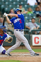 Las Vegas 51s outfielder Jack Cust #32 swings during the Pacific Coast League baseball game against the Round Rock Express on August 7th, 2012 at the Dell Diamond in Round Rock, Texas. The Express defeated the 51s 5-4. (Andrew Woolley/Four Seam Images).