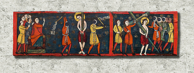 Romanesque painted Beam depicting The Passion and the Stations of the Cross<br /> <br /> Around 1192-1220, Tempera on wood from Catalonia, Spain.<br /> <br /> Acquisition of Museums Board's campaign in 1907. MNAC 15833.<br /> <br /> It is not known what was the original location of the beam, but it might have been part of the structure of a canopy. In any case, it was reused in a ceiling, as evidenced by the cuts that are at the top. It is decorated with seven scenes from the Passion and Resurrection of Christ, this scene shows Christ being whipped and carrying the cross on the road to Calvary. The narrative character in the images and the predominance of yellow is typical of Catalan painting of the 1200's,  specifically with illustrations of Liber Feudorum Maior, a late twelfth-century illuminated cartulary book style of the Crown of Aragon