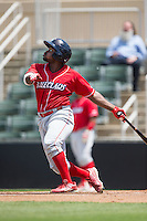 Josh Tobias (5) of the Lakewood BlueClaws follows through on his swing against the Kannapolis Intimidators at Kannapolis Intimidators Stadium on May 8, 2016 in Kannapolis, North Carolina.  The Intimidators defeated the BlueClaws 3-2.  (Brian Westerholt/Four Seam Images)