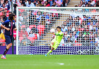 August 06, 2012..Japan's Miho Fukumoto in action during Semi Final match at the Wembley Stadium on day ten in Wembley, England. Japan defeats France 2-1 to reach Women's Finals of the 2012 London Olympics.