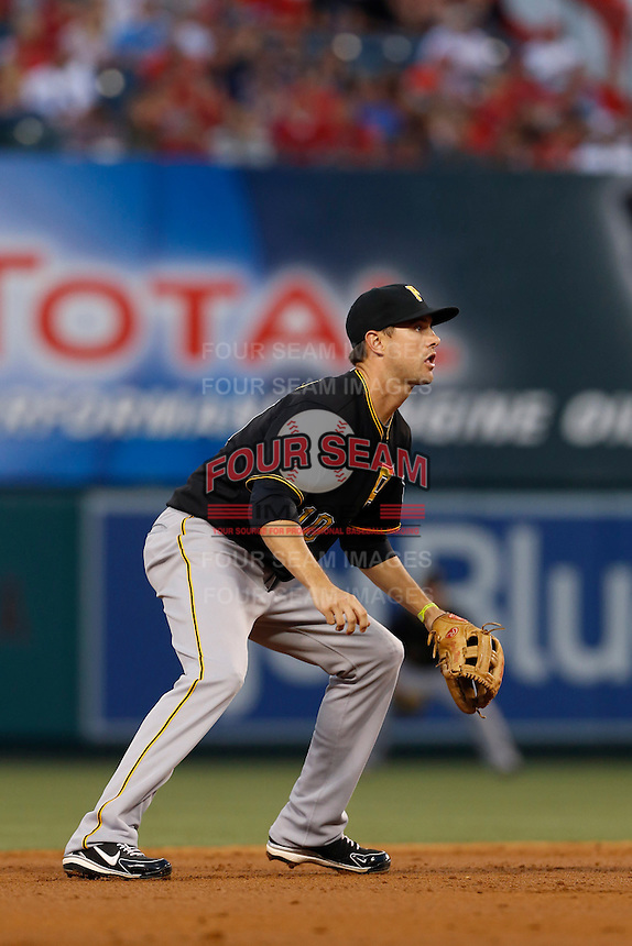 Jordy Mercer #10 of the Pittsburgh Pirates during a game against the Los Angeles Angels at Angel Stadium on June 21, 2013 in Anaheim, California. (Larry Goren/Four Seam Images)