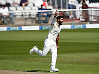 27th May 2021; Emirates Old Trafford, Manchester, Lancashire, England; County Championship Cricket, Lancashire versus Yorkshire, Day 1; Saqib Mahmood of Lancashire celebrates after he has Will Fraine of Yorkshire caught behind by Dane Vilas and Yorkshire are 9-2