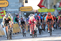 12th September 2020; Lyon, France;  TOUR DE FRANCE 2020- UCI Cycling World Tour during covid-19 pandemic. Stage 14 from Clermont-Ferrand to Lyon on the 12th of September. Simone Consonni Italy Cofidis leads the sprint ahead of Luka Mezgec Slovenia Mitchelton - Scott and Peter Sagan Slovakia Bora - Hansgrohe