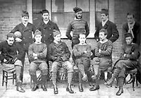 BNPS.co.uk (01202 558833)<br /> Pic: Pen&SwordBooks/BNPS<br /> <br /> Pictured: The Royal Engineers after the 1872 final. Lieutenant George Barker (seated, 2nd right). <br /> <br /> A historian believes he has uncovered a previously unknown participant in the first ever FA Cup final.<br /> <br /> James Bancroft is convinced Lieutenant George Barker represented the Royal Engineers in the 1872 final against the Wanderers.<br /> <br /> However, he is not listed in any official records or football books written about the showpiece occasion.<br /> <br /> Mr Bancroft said he has found newspaper reports with Lt Barker on the team-sheet and he appears in full kit in the Royal Engineers post-match team photo.<br /> <br /> He outlines his theory in his new book, The Early Years of the FA Cup, which charts the rise and fall of the Royal Engineers, the only military team to win the trophy.