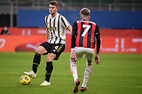 Matthijs de Ligt of Juventus FC and Samu Castillejo of AC Milan during the Serie A football match between AC Milan and Juventus FC at San Siro Stadium in Milano  (Italy), January 6th, 2021. Photo Federico Tardito / Insidefoto