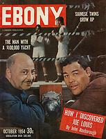 Ebony cover of Joe Louis and his manager, John Roxborough, March 1954. Photo by John G. Zimmerman.