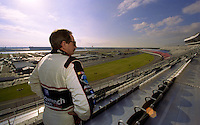 Dale Earnhardt looks out over the race track from the newly christened Earnhardt Grandstand at Daytona International Speedway, Daytona Beach , FL, February 2001.  (Photo by Brian Cleary/www.bcpix.com)